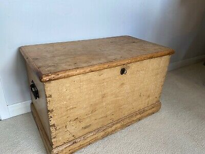 Victorian Antique Vintage Stripped Pine Trunk Chest.99p Starting Bid