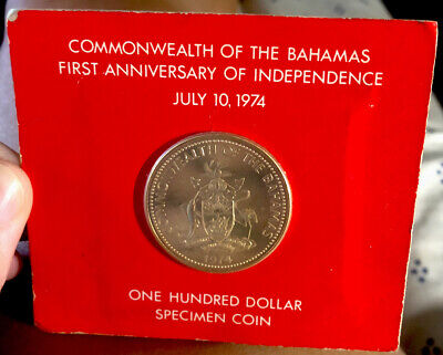 1974 Commonwealth Of The Bahamas $100 Gold Proof Coin