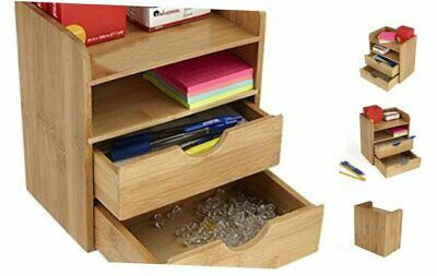 Mind Reader Desk Supplies Organizer with 2 Drawers, Bamboo Brown 4 Compartment