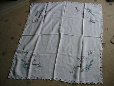 """Hand Embroidered Cotton Tablecloth-33"""" Square"""