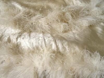 2 Victorian Silk Cape Shaped Flounces With Ostrich Feather Embellishment