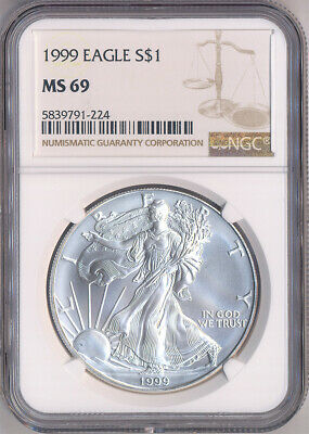 1999 American Silver Eagle $1 Dollar NGC MS69 - Brown Label / One Ounce