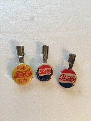 Vintage Pepsi Advertising 3 Shirt Pocket Pencil Clips