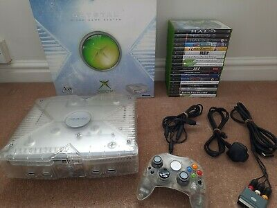 XBOX Crystal console in original box with controller + games bundle job lot