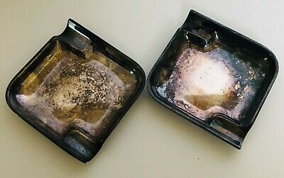 2 Vintage or Antique Silverplate Ash Trays Small Squares Unpolished