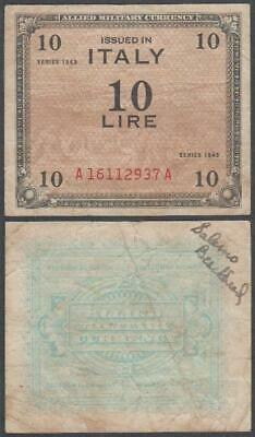 Italy - WWII Allied Military Currency, 10 Lire, 1943, VF+ (graffiti), P-M13