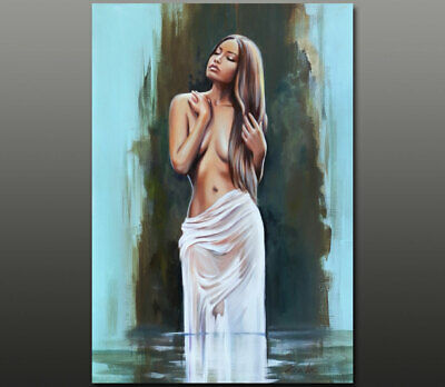 Gala ORIGINAL art surreal nude girl female figure lake oil painting ~NEW