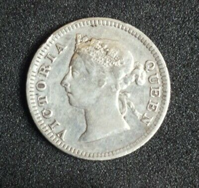 Straits Settlements 1901 SILVER 5 Cents KM# 10 119 Years Old Key Date QV