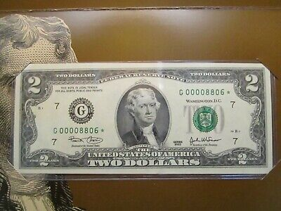 2003 Crisp Uncirculated $2 Star Note Chicago Federal Reserve