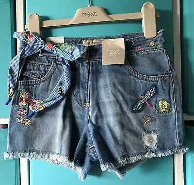 BNWT Next embroidered Denim Shorts with matching hairband BNWT age 8