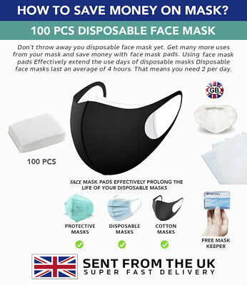 100 Pcs Face Mask Pads. Prolong The Life Of Your Face Mask.