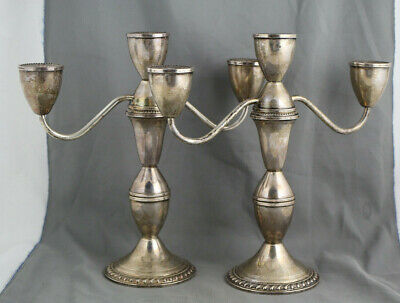 Pair of DUCHIN Sterling Weighted Silver 3-Light CANDELABRA - Scrap or Not 1164g