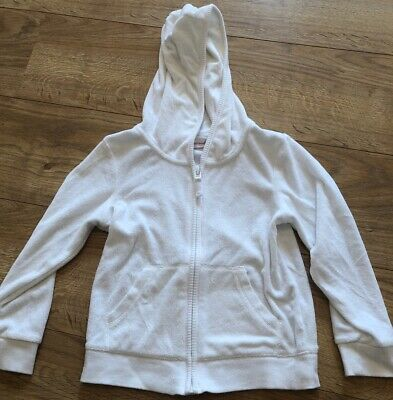 Next Excellent Condition White Towelling Hoodie Girls 5 - 6