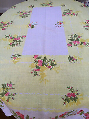 Gorgeous True Vintage Print Tablecloth-Yellow With Pink Roses 52 X 68