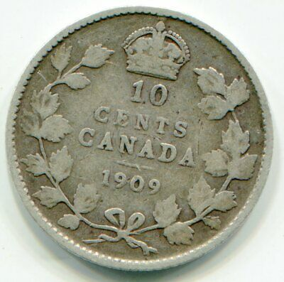 Canada 10 Cents 1909 Victorian leaves    lotapr5877