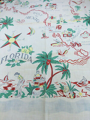 "Fun ""Florida"" True Vintage State Souvenir Tablecloth With Map/Florida Scenes"
