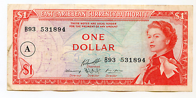 """East Carribbean  Auth. One Dollar  """"A""""  (Antigua) P-13h lotmay6529"""