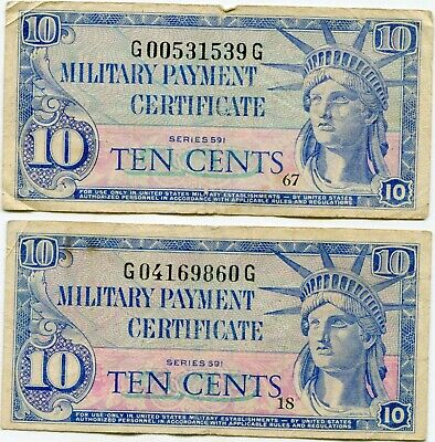 US MPC Series 591 10 cents lot of 2 notes   lotmay6511