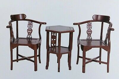 chinese antique Hand-Carved Oriental Corner Chair(2chair+table)