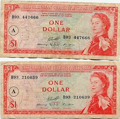East Caribbean Terr. One Dollar A  for Antiqua lot of 2 notes   lotmay6534