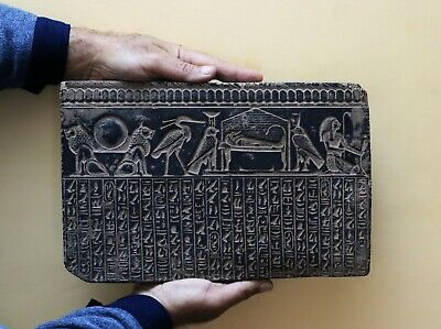 RARE EGYPTIAN EGYPT ANTIQUES Gods HIEROGLYPHIC Wall STELA RELIEF STONE BC
