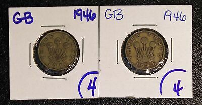 PAIR - 2 scarce 1946 Great Britain 3 Pence coins KM-849