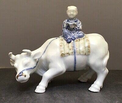 Japanese Edo Hirado Okimono - Boy w/ Book on Bull