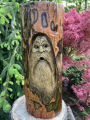 WOOD SPIRIT Chainsaw Carving SASSAFRAS WOOD Tree Spirit, Wizard Folk Art UNIQUE
