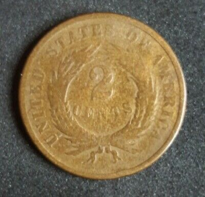 1865 CIVIL WAR ERA PERIOD TWO CENT 2c PIECE SHIELD COPPER COIN 2nd YEAR OF SERIE