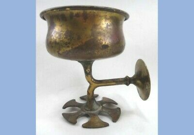 antique BRASS COLORED METAL WALL BATHROOM FIXTURE~CUP and TOOTHBRUSH HOLDER
