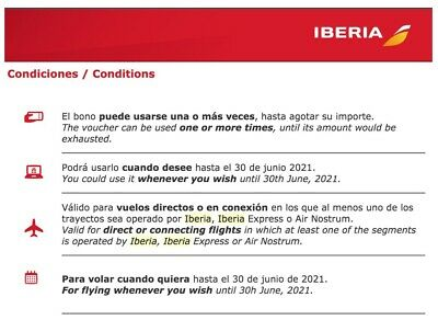 $955 Iberia voucher/can be used many times until exhausted/expires June 30 2021