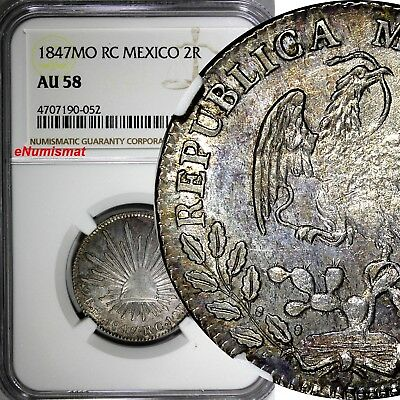 Mexico FIRST REPUBLIC 1847 MO RC 2 Reales NGC AU58 Mexico City KM# 374.10