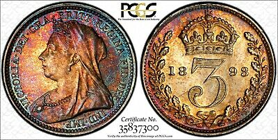Great Britain Victoria Silver 1893 3 Pence PCGS PL64 RAINBOW TONED KM# 777