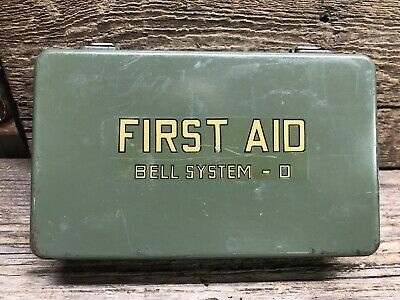 Vintage Bell System Telephone Workman's First Aid Kit - D Metal Box NICE