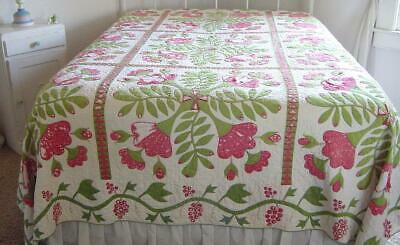 Antique 1860s PA Quilt Cross Lily Tulip Applique Saturated 11 SPI Hand Stitched
