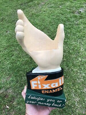 Rare Vintage Fixall Paint Store Counter Hand Holding Can Display Chalkware Sign