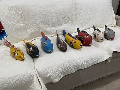 African Tribal Mali Bozo Fish Mask Puppet Collection Of 8