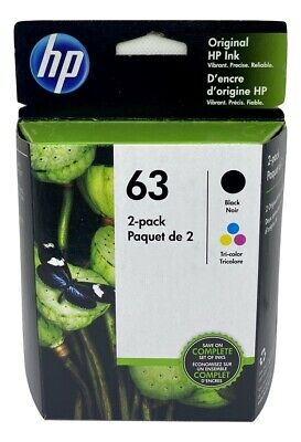 HP 63 Ink Cartridge Combo Black & Color NEW Genuine