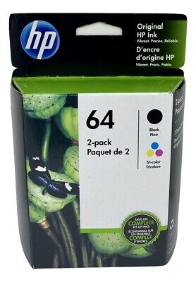 HP 64 Ink Cartridge Combo Black & Color NEW Genuine