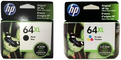 HP 64XL Ink Cartridge Combo Black & Color High Yield NEW Genuine