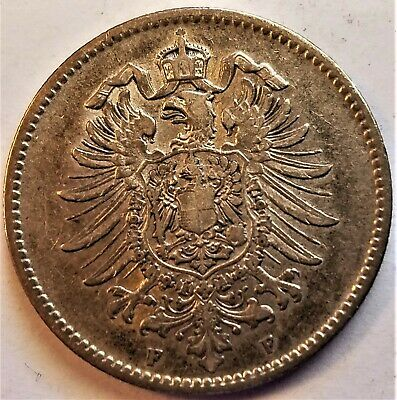 German Empire 1874-F 1 Mark Extremely Fine Gorgeously Toned Silver World Coin