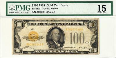 1928 $100 Fr-2405 Gold Certificate PMG 15 CHOICE FINE - WOW PERFECT CENTERING!!!