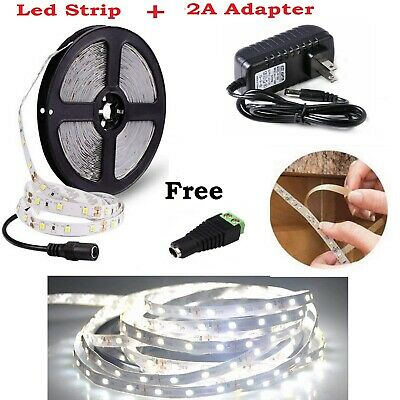 LED Light Strip 3528 SMD Cool White 600Leds IP65 DC 12V 2A Adapter Kit (16 feet)