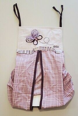 CoCaLo Sugar Plum Diaper Stacker Holder Purple Butterfly Checkered Pattern Baby