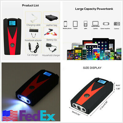 12V 99900mAh LED Display Car Jump Start 2 USB Charger Battery Booster Power Bank