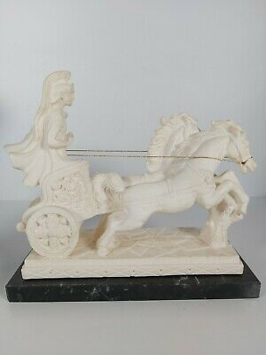 Horses Pulling Roman Soldier Statue, Heavy Made From Stone, Base Marble 26x24cm