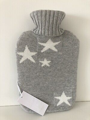 THE WHITE COMPANY Grey with White Star Design Hot Water Bottle New With Tags