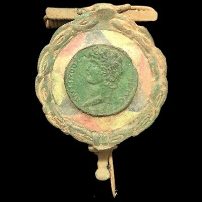 Ancient Roman Huge Bronze Enamelled Fibula Brooch With Bust - 200-400 Ad (2)