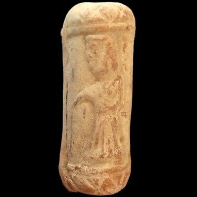 Ancient Terracotta Indus Valley Cylinder Artefact With Figure (1)
