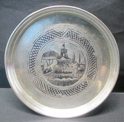 Antique 1873 Imperial Russian 84 Niello Silver Coaster Plate St. Petersburg